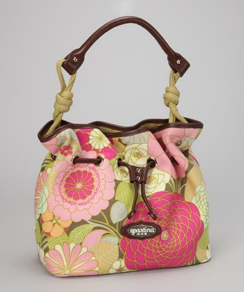 Citrus & Magenta Camellia Shoulder Bag