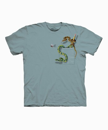 Mint Green Snake Pocket Tee - Kids