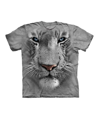 Gray Tiger Face Tee - Kids