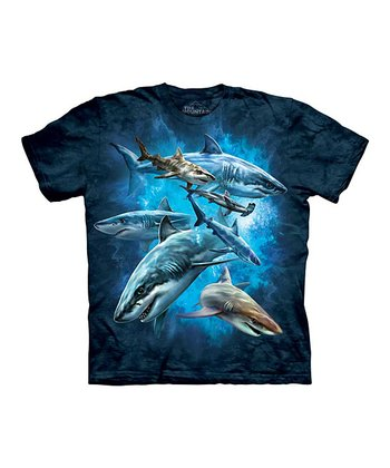 Blue Shark Collage Tee - Toddler, Kids, Adult & Plus