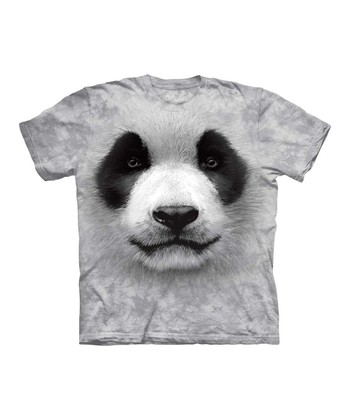 Light Gray Panda Face Tee - Toddler & Kids