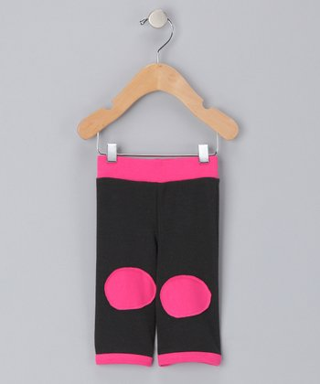 Black & Fuchsia Organic Patch Pants - Infant