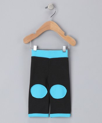 Shinobi Baby Black & Turquoise Organic Patch Pants - Infant