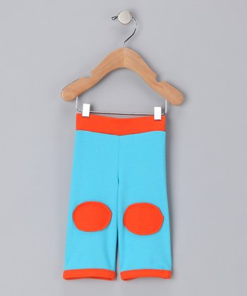 Shinobi Baby Turquoise & Orange Organic Patch Pants - Infant