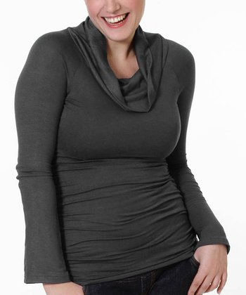 Charcoal Gray Maternity & Nursing Cowl Neck Top
