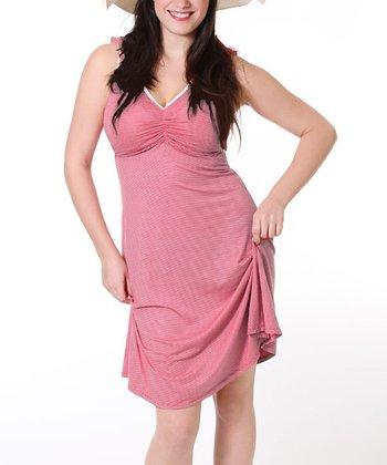 White & Red Stripe Maternity & Nursing Dress