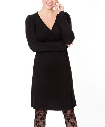 Black To Tie For Maternity & Nursing Dress