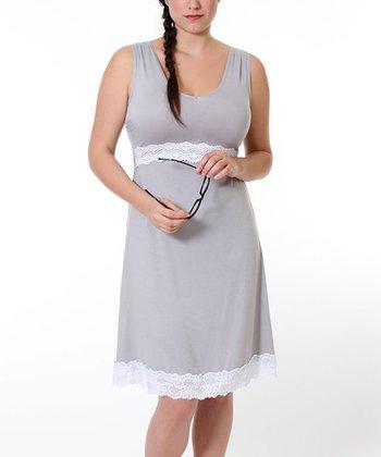 Stone Gray Maternity & Nursing Nightgown