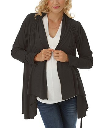 Black Maternity & Nursing Open Cardigan
