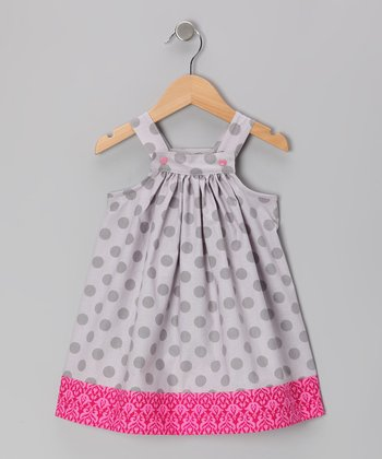 Gray & Hot Pink Polka Dot Jumper - Toddler & Girls