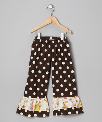 Brown Polka Dot Ruffle Pants - Toddler & Girls