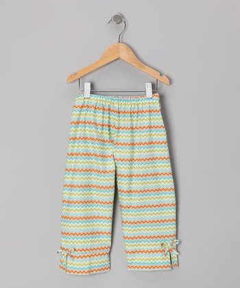 Orange Zigzag Capri Pants - Toddler & Girls