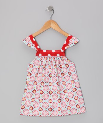Red & Blue Daisy Angel-Sleeve Top - Toddler & Girls