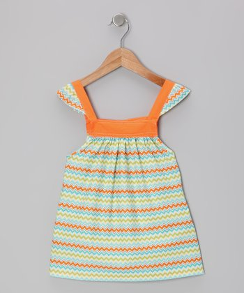 Orange Zigzag Angel-Sleeve Top - Toddler & Girls