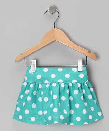 Aqua Apple Polka Dot Skirt - Toddler & Girls