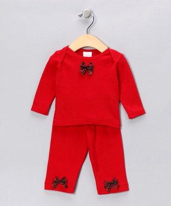 Red Tartan Bow Tee & Pants - Infant