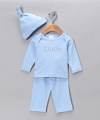 Blue 'Dude' Pants Set - Infant