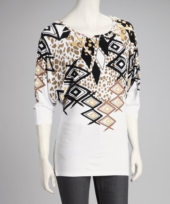 Beige & Black Abstract Dolman Top - Women
