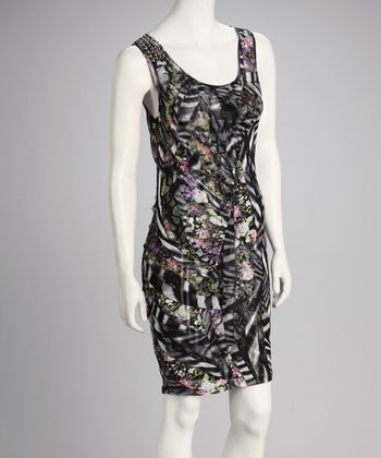 Black Abstract Sleeveless Dress - Women