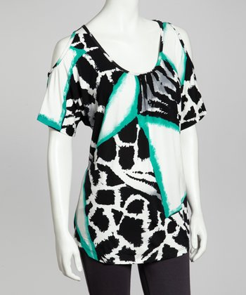 Black & Green Abstract Animal Cutout Top - Women