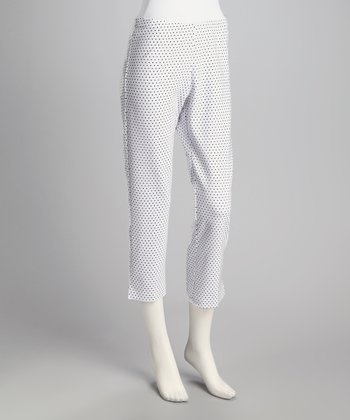 White Pin Dot Cropped Pants - Women