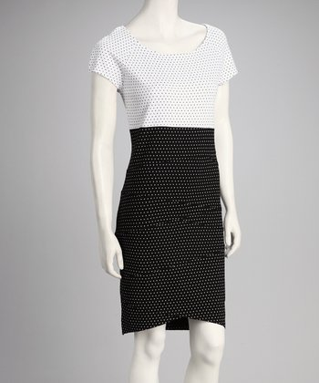 Black & White Pin Dot Cap-Sleeve Dress - Women