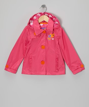 Fuchsia Heart Raincoat - Toddler & Girls