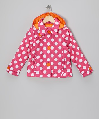 Fuchsia Polka Dot Raincoat - Toddler & Girls