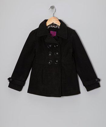 Black Velvet Double-Breasted Peacoat - Girls