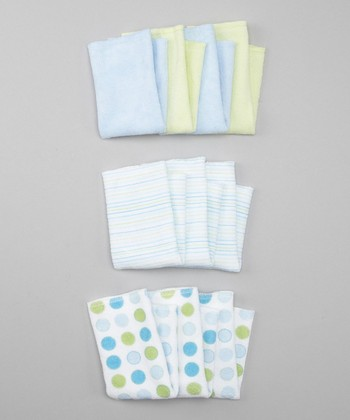 Blue Terry Washcloth Set