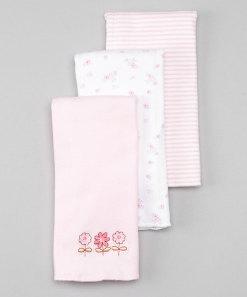 Pink Flower Interlock Burp Cloth Set