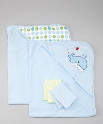 Blue Whale Terry Hooded Towel & Washcloth Set