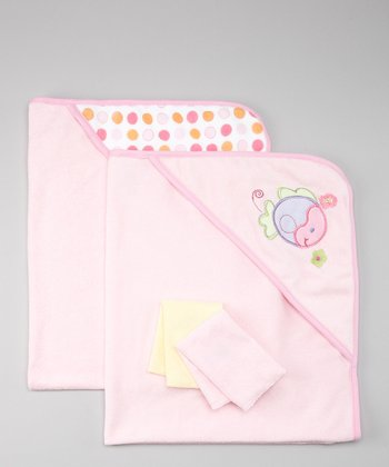 Pink Fish Terry Hooded Towel & Washcloth Set
