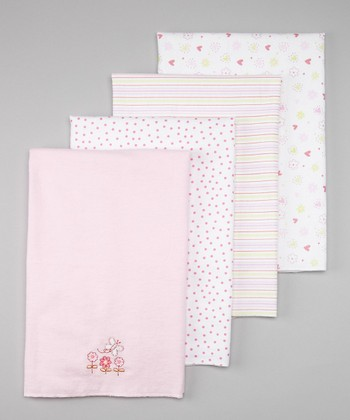 Pink Flower Stroller Blanket Set