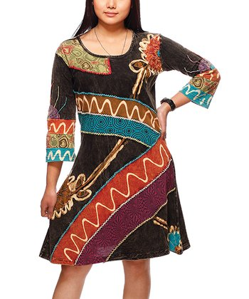 Black & Rust Patchwork Scoop Neck Dress