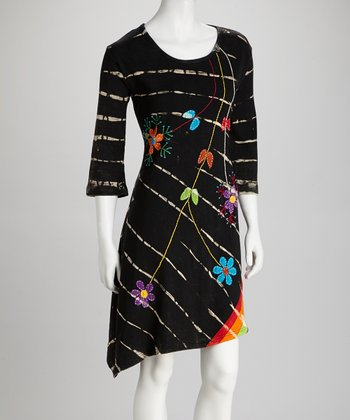 Black Tie-Dye Three-Quarter Sleeve Dress - Women