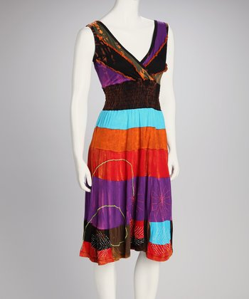 Violet Stripe Surplice Dress