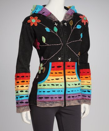 Dark Wash Rainbow Zip-Up Hoodie - Women