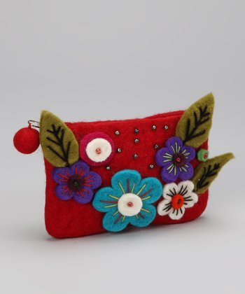 Red Flower Felt Coin Purse