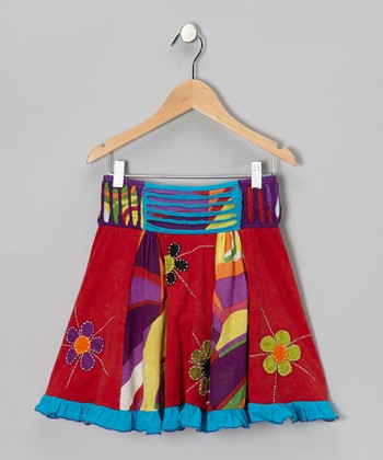Red & Blue Flower Skirt - Girls