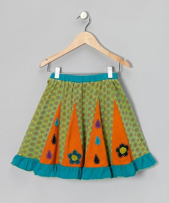Green & Orange Pleated Skirt - Girls