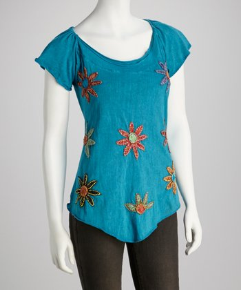 Turquoise Flower Angel-Sleeve Top