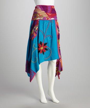 Aqua & Red Handkerchief Skirt