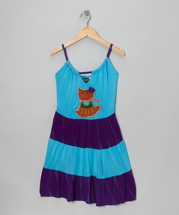 Blue & Purple Kitty Dress - Girls