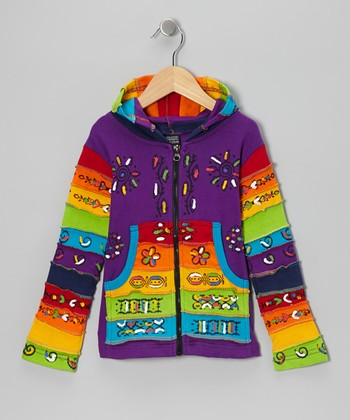 Purple Rainbow Zip-Up Hoodie - Toddler & Kids