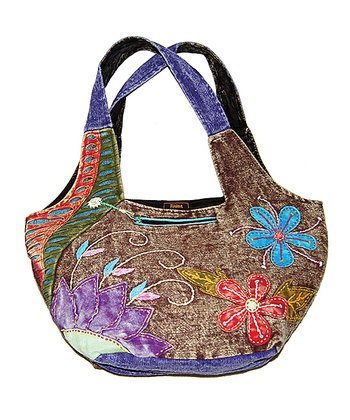 Brown & Purple Floral Embroidered Shopper