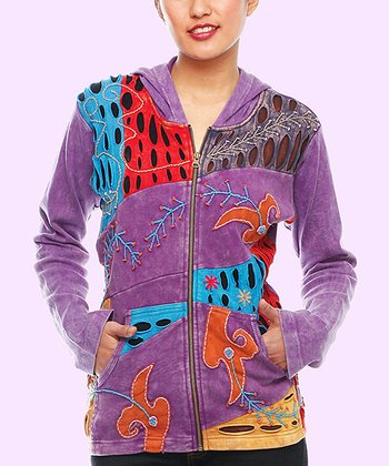 Purple Patchwork Zip-Up Hoodie - Plus