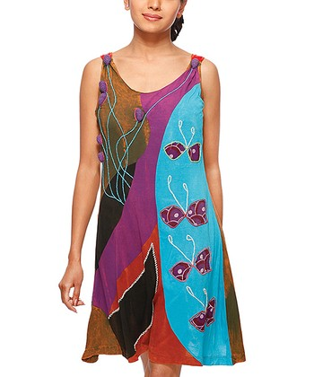 Purple & Blue Patchwork Dress