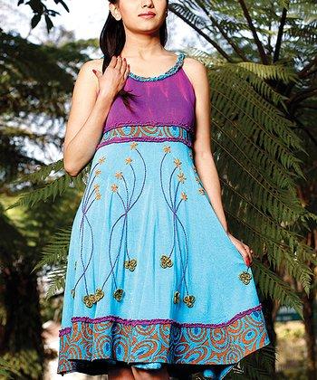 Purple & Blue Floral Embroidered Yoke Dress