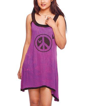 Purple Peace Yoke Dress - Women
